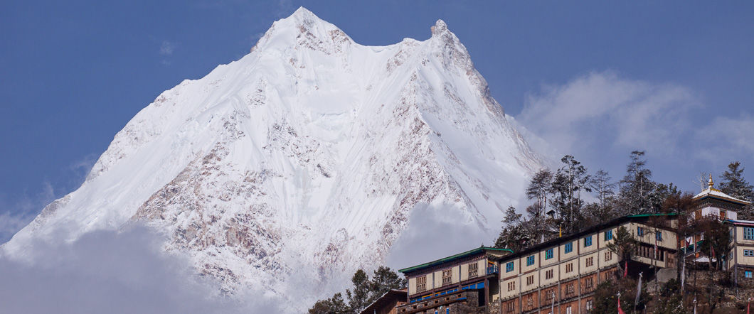 Lho monastery with manaslu